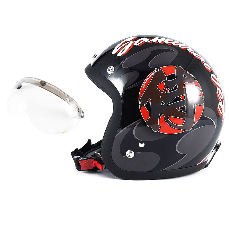 72JAM デザイナーズジェットヘルメット [JF-11] 開閉シールド付き [APS-01]SAMURAI サムライ ブラック [ガラスフレークブラックベースグロス仕上げ]FREEサイズ(57-60cm未満) メンズ レディース 兼用品 SG規格 全排気量対応
