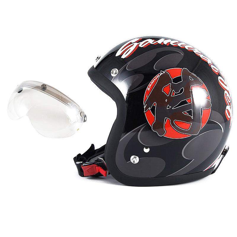 72JAM デザイナーズジェットヘルメット [JF-11] 開閉シールド付き [APS-02]SAMURAI サムライ ブラック [ガラスフレークブラックベースグロス仕上げ]FREEサイズ(57-60cm未満) メンズ レディース 兼用品 SG規格 全排気量対応