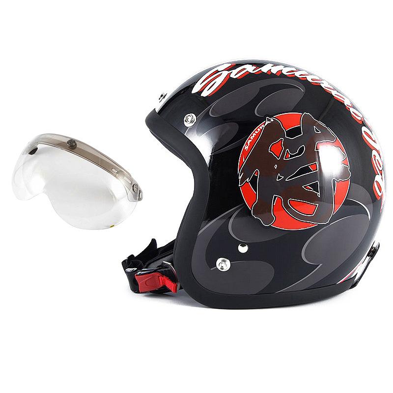 72JAM デザイナーズジェットヘルメット [JF-11] 開閉シールド付き [APS-03]SAMURAI サムライ ブラック [ガラスフレークブラックベースグロス仕上げ]FREEサイズ(57-60cm未満) メンズ レディース 兼用品 SG規格 全排気量対応