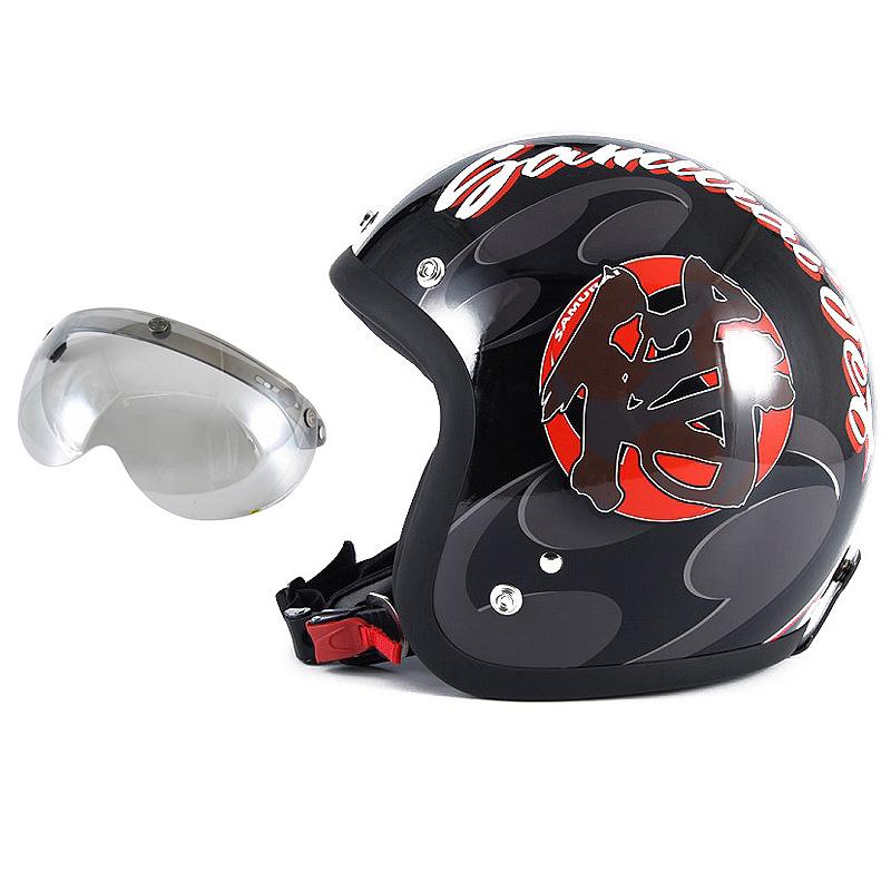 72JAM デザイナーズジェットヘルメット [JF-11] 開閉シールド付き [APS-04]SAMURAI サムライ ブラック [ガラスフレークブラックベースグロス仕上げ]FREEサイズ(57-60cm未満) メンズ レディース 兼用品 SG規格 全排気量対応
