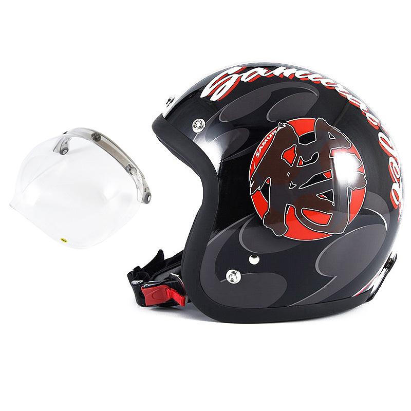 72JAM デザイナーズジェットヘルメット [JF-11] 開閉シールド付き [JCBN-01]SAMURAI サムライ ブラック [ガラスフレークブラックベースグロス仕上げ]FREEサイズ(57-60cm未満) メンズ レディース 兼用品 SG規格 全排気量対応