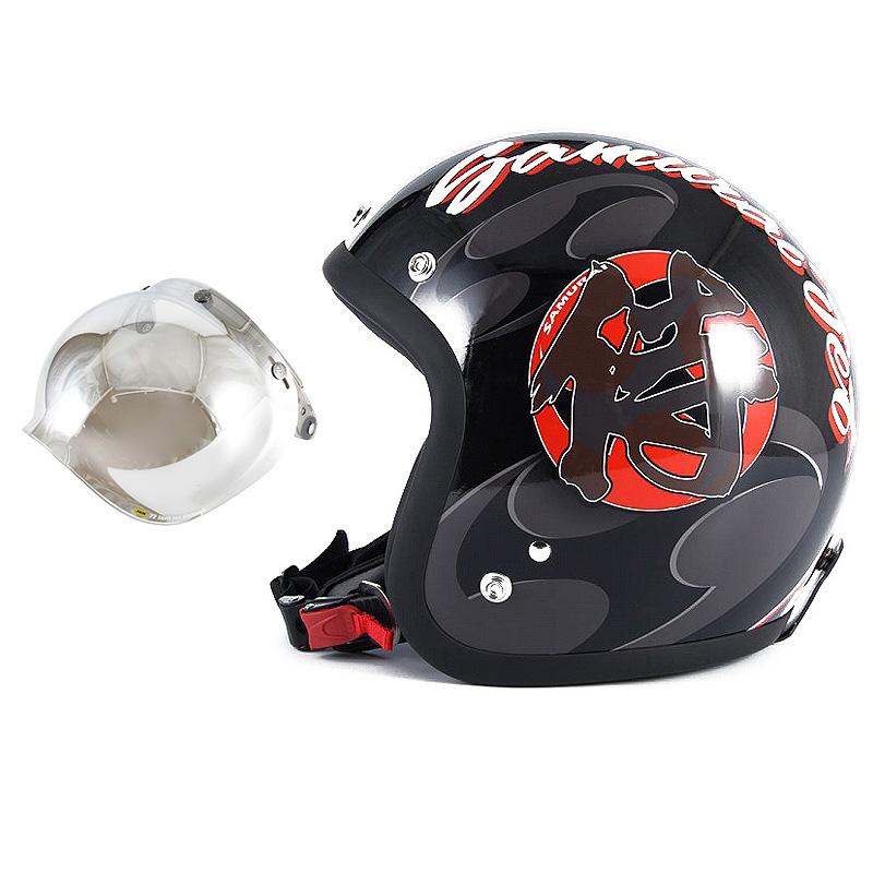 72JAM デザイナーズジェットヘルメット [JF-11] 開閉シールド付き [JCBN-02]SAMURAI サムライ ブラック [ガラスフレークブラックベースグロス仕上げ]FREEサイズ(57-60cm未満) メンズ レディース 兼用品 SG規格 全排気量対応
