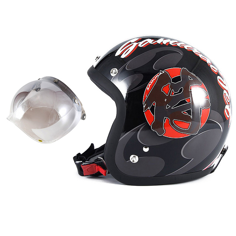 72JAM デザイナーズジェットヘルメット [JF-11] 開閉シールド付き [JCBN-03]SAMURAI サムライ ブラック [ガラスフレークブラックベースグロス仕上げ]FREEサイズ(57-60cm未満) メンズ レディース 兼用品 SG規格 全排気量対応