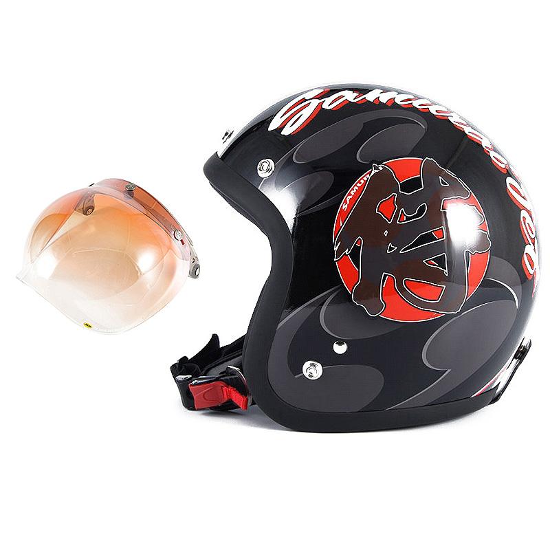 72JAM デザイナーズジェットヘルメット [JF-11] 開閉シールド付き [JCBN-04]SAMURAI サムライ ブラック [ガラスフレークブラックベースグロス仕上げ]FREEサイズ(57-60cm未満) メンズ レディース 兼用品 SG規格 全排気量対応