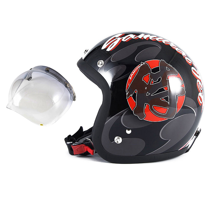 72JAM デザイナーズジェットヘルメット [JF-11] 開閉シールド付き [JCBN-05]SAMURAI サムライ ブラック [ガラスフレークブラックベースグロス仕上げ]FREEサイズ(57-60cm未満) メンズ レディース 兼用品 SG規格 全排気量対応