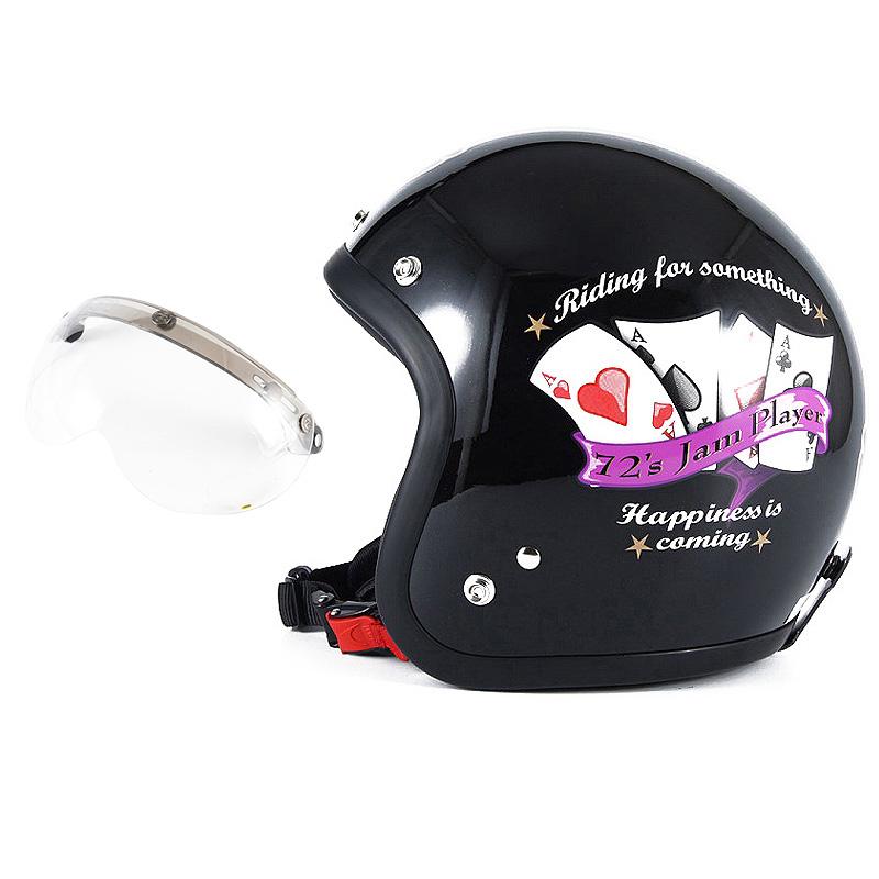 72JAM デザイナーズジェットヘルメット [JF-13] 開閉シールド付き [APS-01]PLAYERS プレイヤーズ ブラック [ガラスフレークブラックベースグロス仕上げ]FREEサイズ(57-60cm未満) メンズ レディース 兼用品 SG規格 全排気量対応
