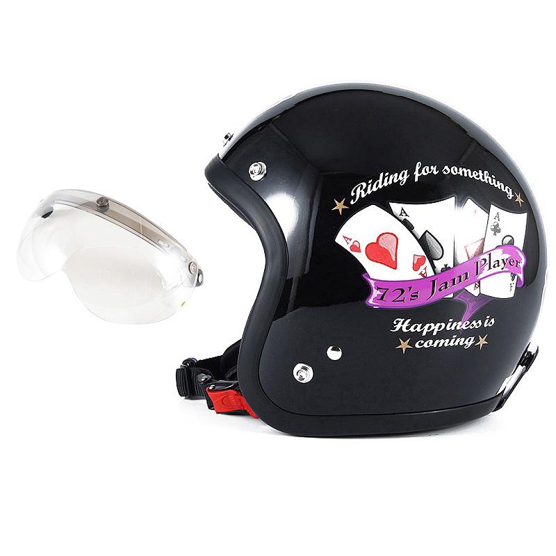 72JAM デザイナーズジェットヘルメット [JF-13] 開閉シールド付き [APS-02]PLAYERS プレイヤーズ ブラック [ガラスフレークブラックベースグロス仕上げ]FREEサイズ(57-60cm未満) メンズ レディース 兼用品 SG規格 全排気量対応