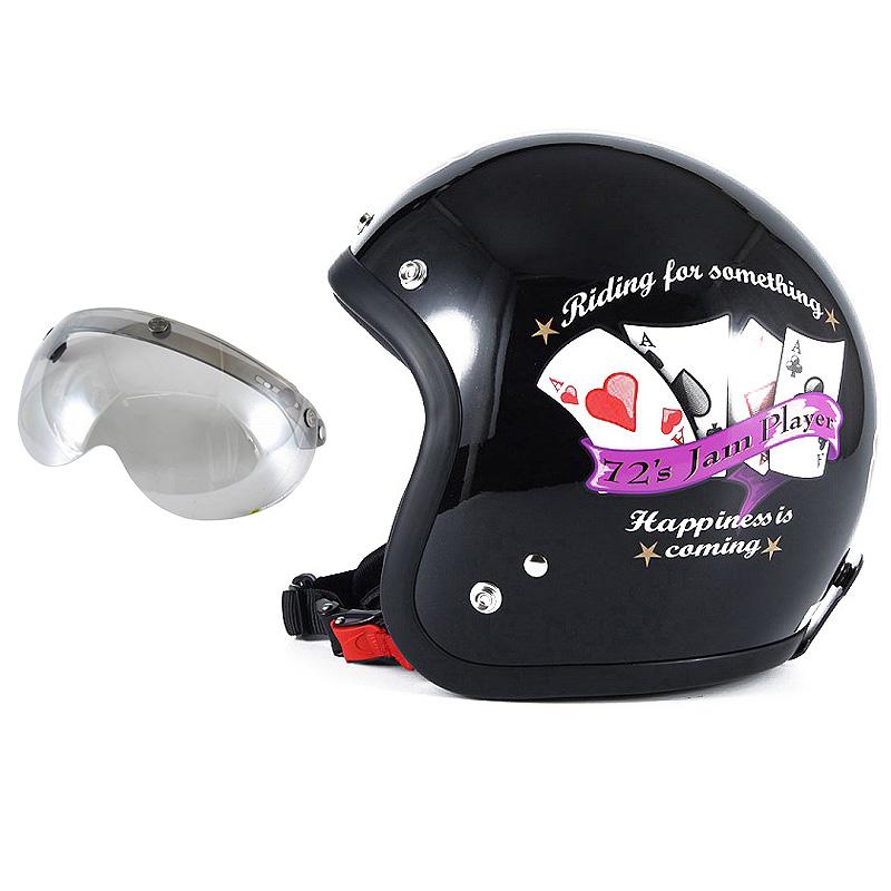 72JAM デザイナーズジェットヘルメット [JF-13] 開閉シールド付き [APS-04]PLAYERS プレイヤーズ ブラック [ガラスフレークブラックベースグロス仕上げ]FREEサイズ(57-60cm未満) メンズ レディース 兼用品 SG規格 全排気量対応