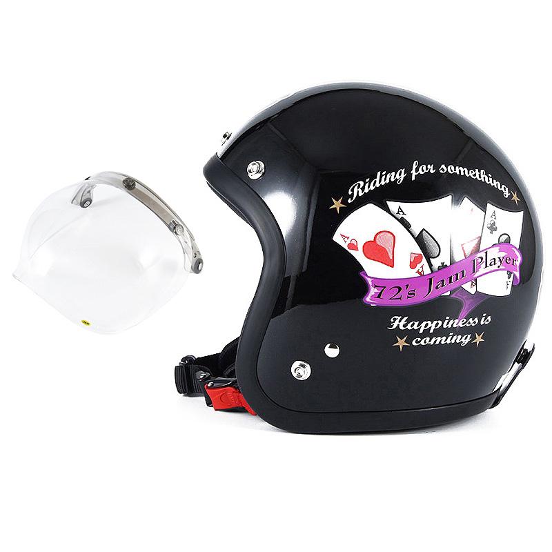 72JAM デザイナーズジェットヘルメット [JF-13] 開閉シールド付き [JCBN-01]PLAYERS プレイヤーズ ブラック [ガラスフレークブラックベースグロス仕上げ]FREEサイズ(57-60cm未満) メンズ レディース 兼用品 SG規格 全排気量対応