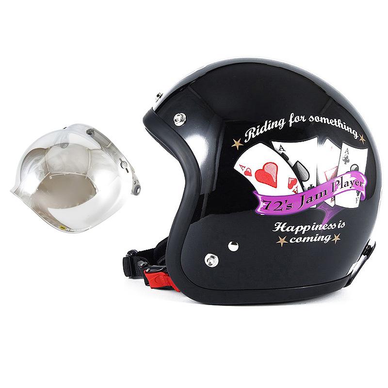 72JAM デザイナーズジェットヘルメット [JF-13] 開閉シールド付き [JCBN-02]PLAYERS プレイヤーズ ブラック [ガラスフレークブラックベースグロス仕上げ]FREEサイズ(57-60cm未満) メンズ レディース 兼用品 SG規格 全排気量対応