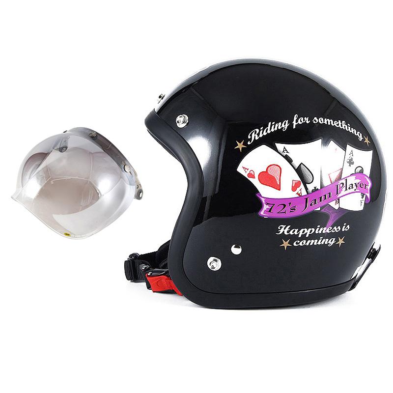 72JAM デザイナーズジェットヘルメット [JF-13] 開閉シールド付き [JCBN-03]PLAYERS プレイヤーズ ブラック [ガラスフレークブラックベースグロス仕上げ]FREEサイズ(57-60cm未満) メンズ レディース 兼用品 SG規格 全排気量対応