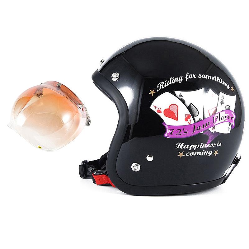 72JAM デザイナーズジェットヘルメット [JF-13] 開閉シールド付き [JCBN-04]PLAYERS プレイヤーズ ブラック [ガラスフレークブラックベースグロス仕上げ]FREEサイズ(57-60cm未満) メンズ レディース 兼用品 SG規格 全排気量対応