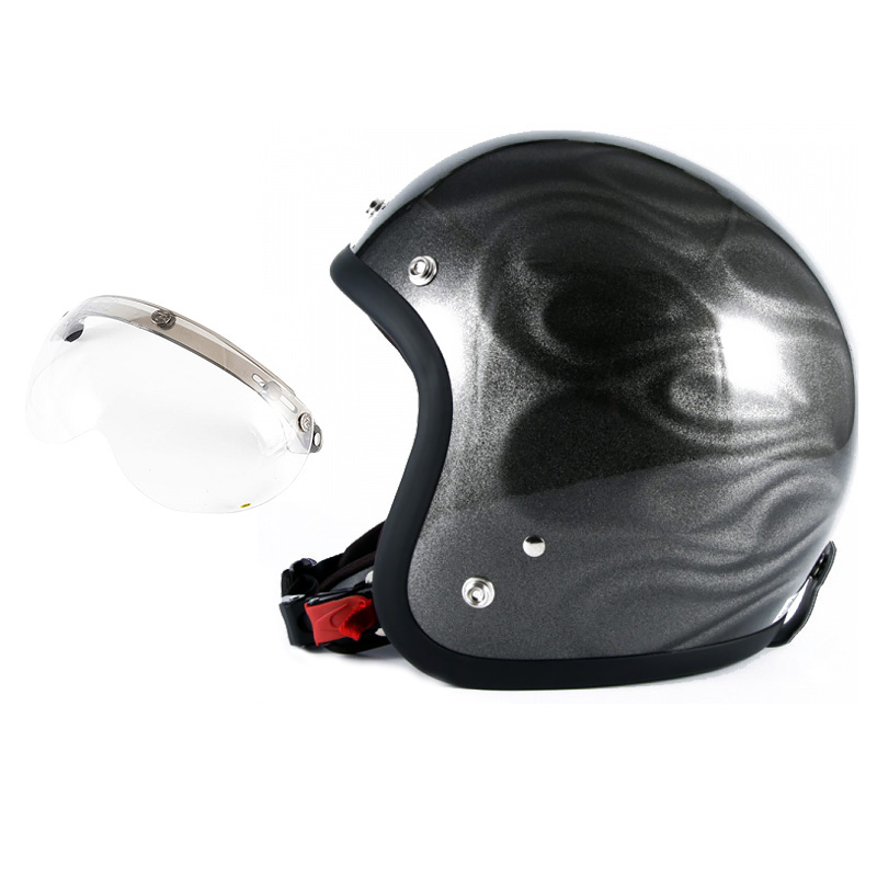 72JAM デザイナーズジェットヘルメット [JG-14] 開閉シールド付き [APS-01]GHOST FLAME ゴーストフレイム シルバー [シルバーグロス仕上げ]FREEサイズ(57-60cm未満) メンズ レディース 兼用品 SG規格 全排気量対応