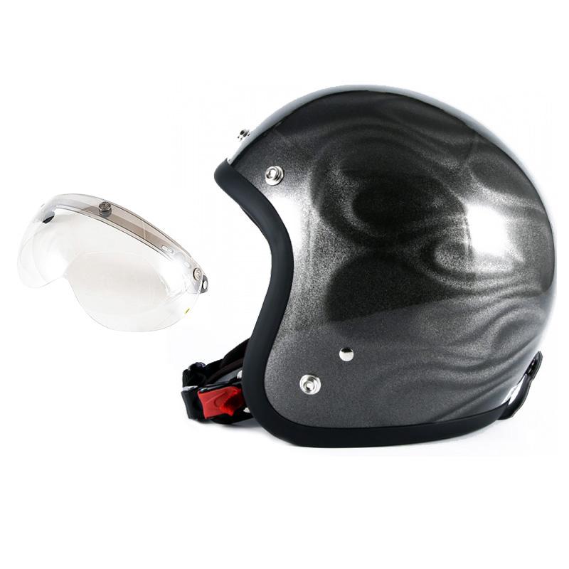 72JAM デザイナーズジェットヘルメット [JG-14] 開閉シールド付き [APS-02]GHOST FLAME ゴーストフレイム シルバー [シルバーグロス仕上げ]FREEサイズ(57-60cm未満) メンズ レディース 兼用品 SG規格 全排気量対応