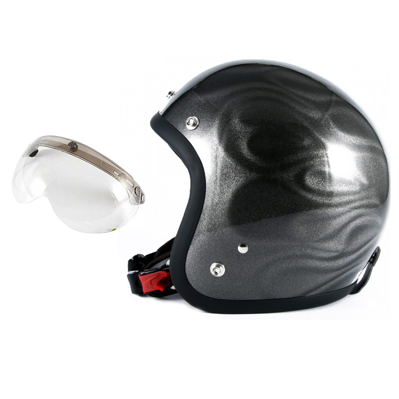 72JAM デザイナーズジェットヘルメット [JG-14] 開閉シールド付き [APS-03]GHOST FLAME ゴーストフレイム シルバー [シルバーグロス仕上げ]FREEサイズ(57-60cm未満) メンズ レディース 兼用品 SG規格 全排気量対応
