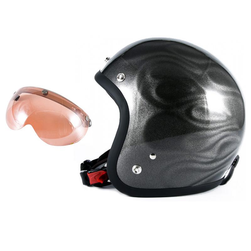 72JAM デザイナーズジェットヘルメット [JG-14] 開閉シールド付き [APS-05]GHOST FLAME ゴーストフレイム シルバー [シルバーグロス仕上げ]FREEサイズ(57-60cm未満) メンズ レディース 兼用品 SG規格 全排気量対応