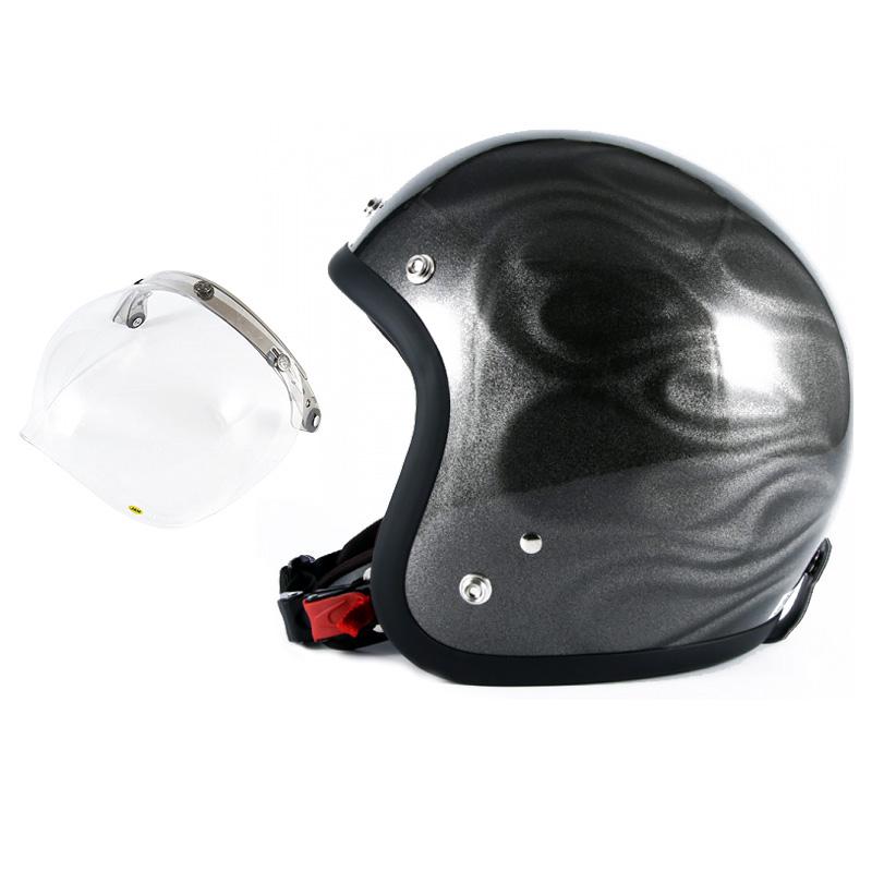 72JAM デザイナーズジェットヘルメット [JG-14] 開閉シールド付き [JCBN-01]GHOST FLAME ゴーストフレイム シルバー [シルバーグロス仕上げ]FREEサイズ(57-60cm未満) メンズ レディース 兼用品 SG規格 全排気量対応