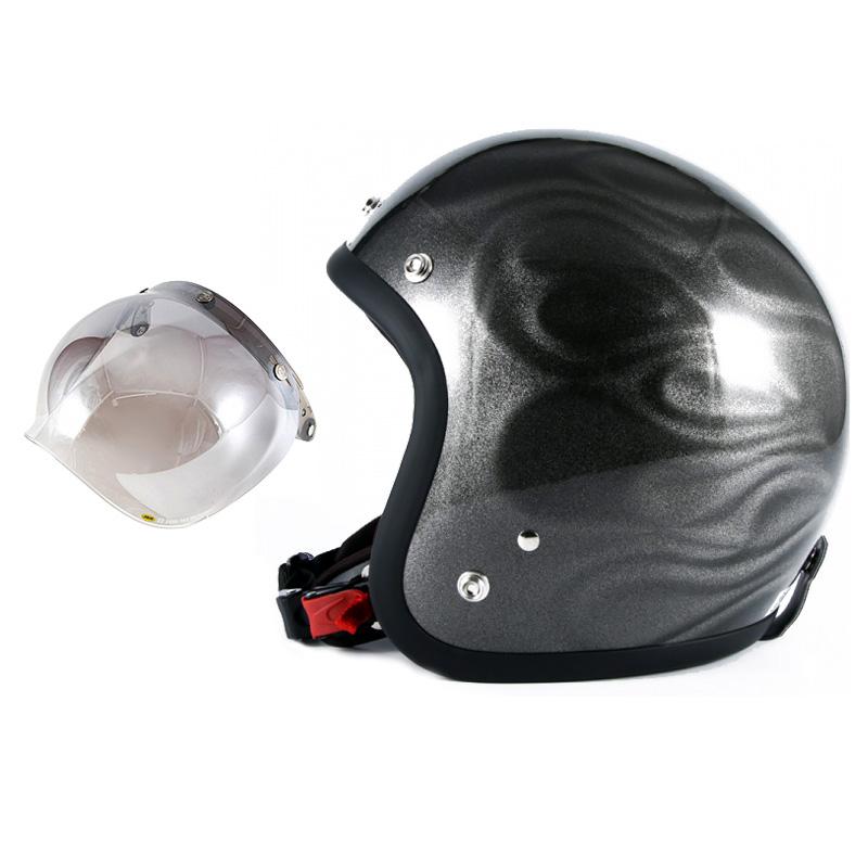 72JAM デザイナーズジェットヘルメット [JG-14] 開閉シールド付き [JCBN-03]GHOST FLAME ゴーストフレイム シルバー [シルバーグロス仕上げ]FREEサイズ(57-60cm未満) メンズ レディース 兼用品 SG規格 全排気量対応
