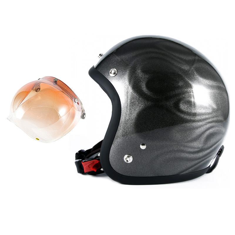 72JAM デザイナーズジェットヘルメット [JG-14] 開閉シールド付き [JCBN-04]GHOST FLAME ゴーストフレイム シルバー [シルバーグロス仕上げ]FREEサイズ(57-60cm未満) メンズ レディース 兼用品 SG規格 全排気量対応