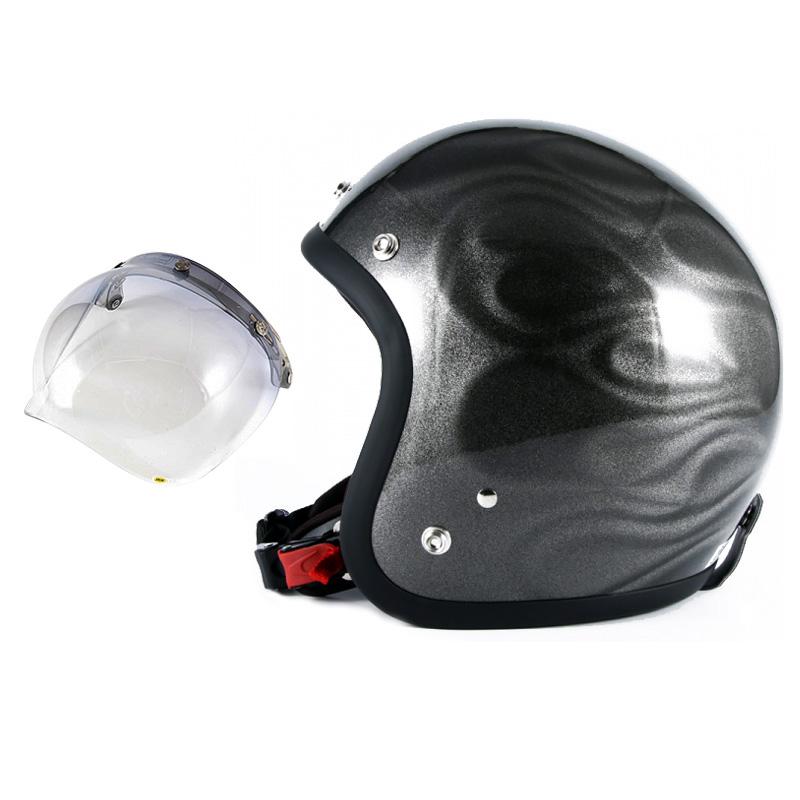 72JAM デザイナーズジェットヘルメット [JG-14] 開閉シールド付き [JCBN-05]GHOST FLAME ゴーストフレイム シルバー [シルバーグロス仕上げ]FREEサイズ(57-60cm未満) メンズ レディース 兼用品 SG規格 全排気量対応