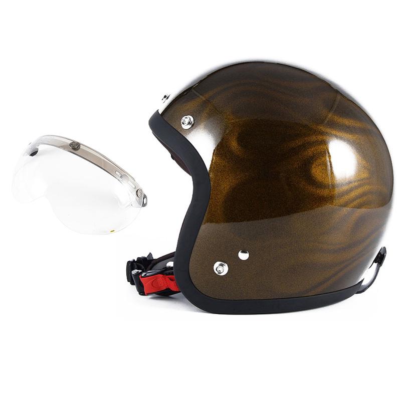 72JAM デザイナーズジェットヘルメット [JG-15] 開閉シールド付き [APS-01]GHOST FLAME ゴーストフレイム ゴールド [ゴールドグロス仕上げ]FREEサイズ(57-60cm未満) メンズ レディース 兼用品 SG規格 全排気量対応