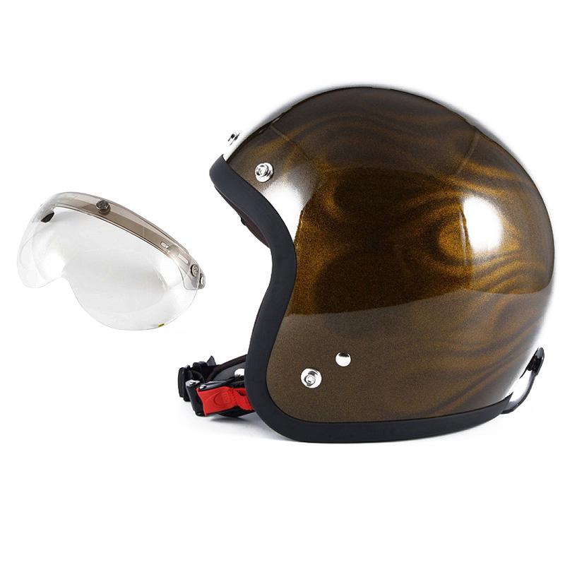 72JAM デザイナーズジェットヘルメット [JG-15] 開閉シールド付き [APS-03]GHOST FLAME ゴーストフレイム ゴールド [ゴールドグロス仕上げ]FREEサイズ(57-60cm未満) メンズ レディース 兼用品 SG規格 全排気量対応
