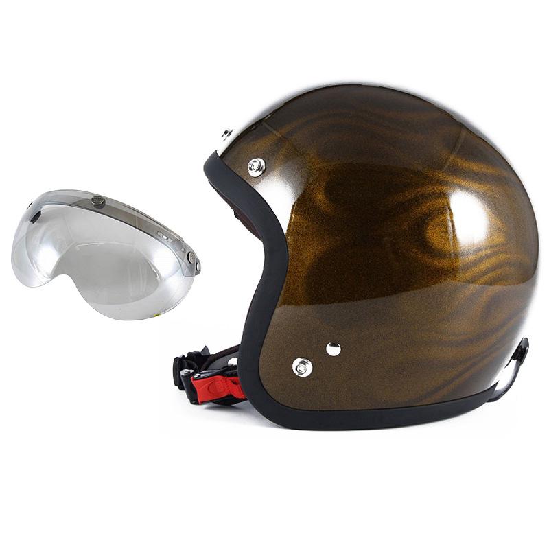 72JAM デザイナーズジェットヘルメット [JG-15] 開閉シールド付き [APS-04]GHOST FLAME ゴーストフレイム ゴールド [ゴールドグロス仕上げ]FREEサイズ(57-60cm未満) メンズ レディース 兼用品 SG規格 全排気量対応