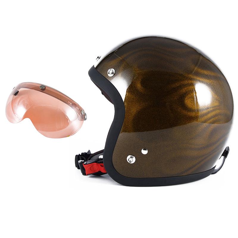72JAM デザイナーズジェットヘルメット [JG-15] 開閉シールド付き [APS-05]GHOST FLAME ゴーストフレイム ゴールド [ゴールドグロス仕上げ]FREEサイズ(57-60cm未満) メンズ レディース 兼用品 SG規格 全排気量対応