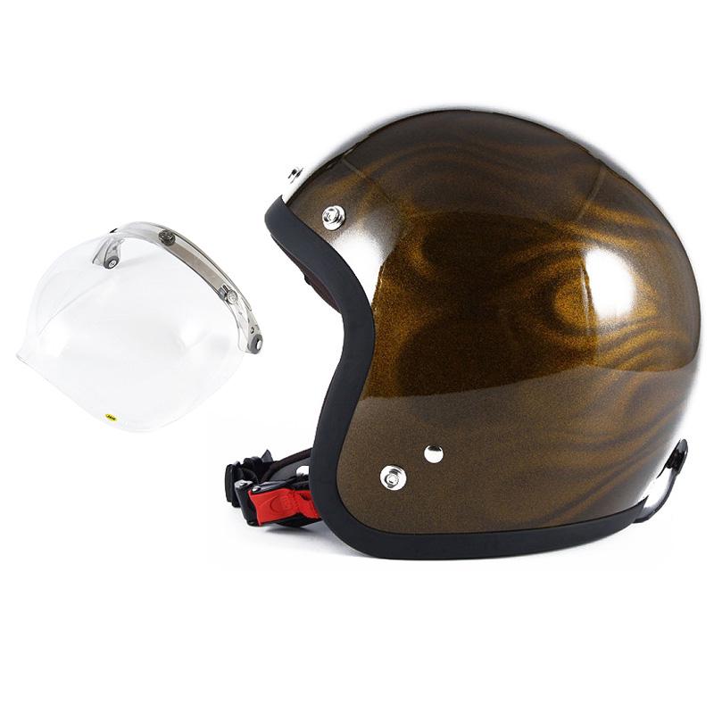 72JAM デザイナーズジェットヘルメット [JG-15] 開閉シールド付き [JCBN-01]GHOST FLAME ゴーストフレイム ゴールド [ゴールドグロス仕上げ]FREEサイズ(57-60cm未満) メンズ レディース 兼用品 SG規格 全排気量対応