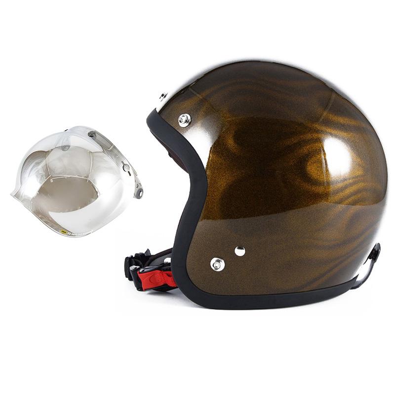 72JAM デザイナーズジェットヘルメット [JG-15] 開閉シールド付き [JCBN-02]GHOST FLAME ゴーストフレイム ゴールド [ゴールドグロス仕上げ]FREEサイズ(57-60cm未満) メンズ レディース 兼用品 SG規格 全排気量対応