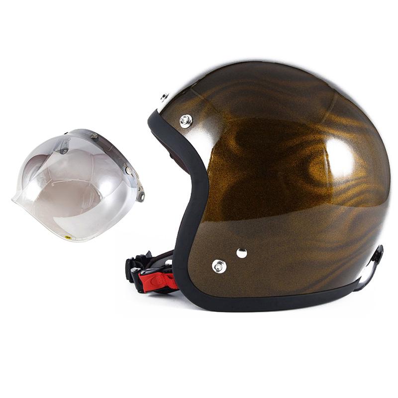 72JAM デザイナーズジェットヘルメット [JG-15] 開閉シールド付き [JCBN-03]GHOST FLAME ゴーストフレイム ゴールド [ゴールドグロス仕上げ]FREEサイズ(57-60cm未満) メンズ レディース 兼用品 SG規格 全排気量対応