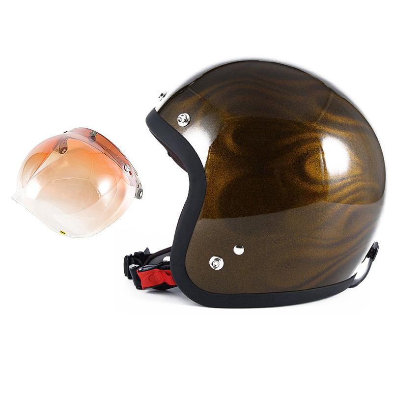 72JAM デザイナーズジェットヘルメット [JG-15] 開閉シールド付き [JCBN-04]GHOST FLAME ゴーストフレイム ゴールド [ゴールドグロス仕上げ]FREEサイズ(57-60cm未満) メンズ レディース 兼用品 SG規格 全排気量対応
