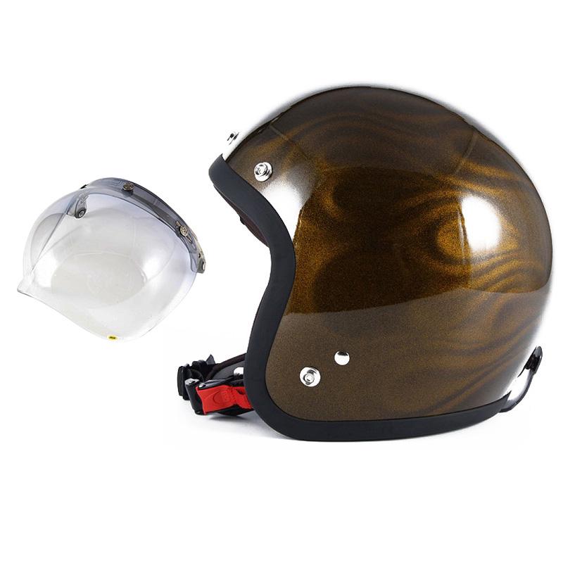 72JAM デザイナーズジェットヘルメット [JG-15] 開閉シールド付き [JCBN-05]GHOST FLAME ゴーストフレイム ゴールド [ゴールドグロス仕上げ]FREEサイズ(57-60cm未満) メンズ レディース 兼用品 SG規格 全排気量対応