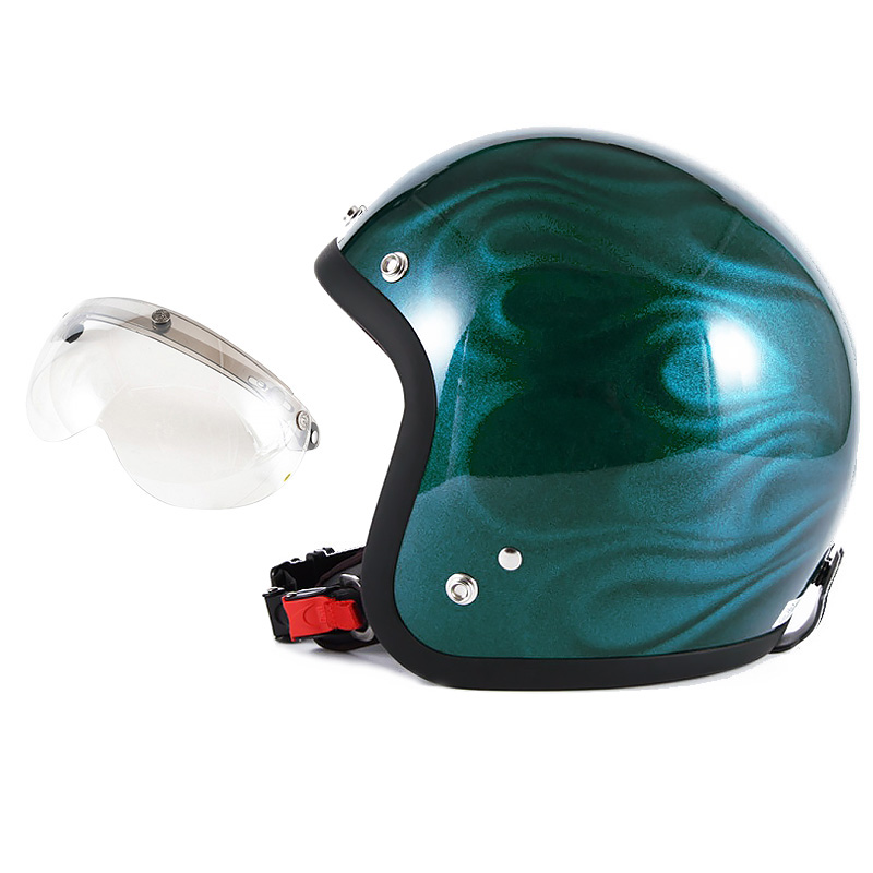72JAM デザイナーズジェットヘルメット [JG-16] 開閉シールド付き [APS-02]GHOST FLAME ゴーストフレイム ブルー [ブルーグロス仕上げ]FREEサイズ(57-60cm未満) メンズ レディース 兼用品 SG規格 全排気量対応