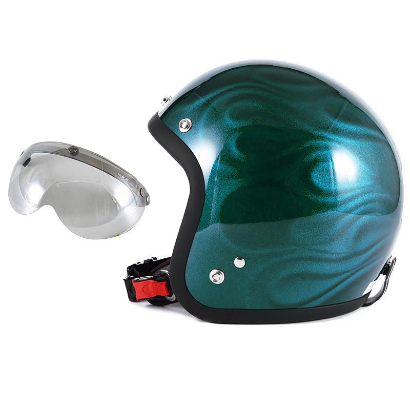 72JAM デザイナーズジェットヘルメット [JG-16] 開閉シールド付き [APS-04]GHOST FLAME ゴーストフレイム ブルー [ブルーグロス仕上げ]FREEサイズ(57-60cm未満) メンズ レディース 兼用品 SG規格 全排気量対応