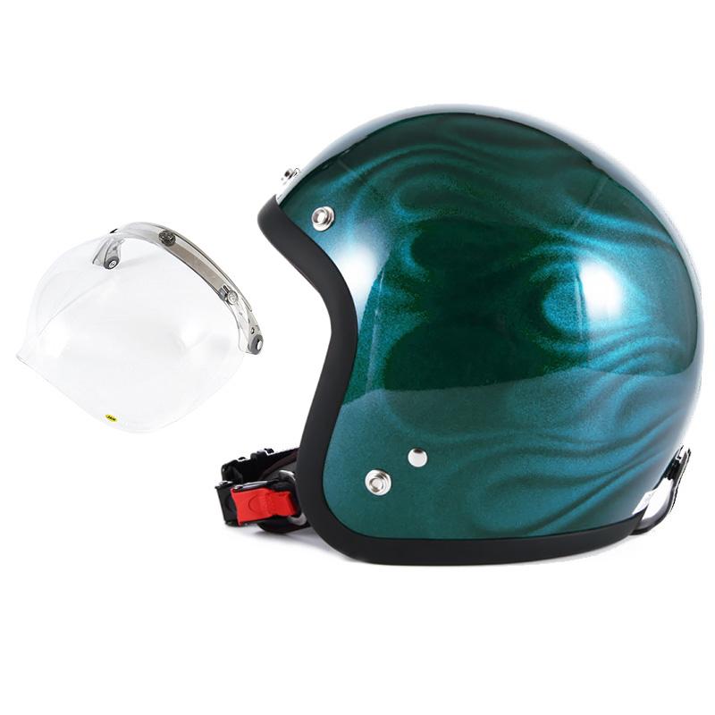 72JAM デザイナーズジェットヘルメット [JG-16] 開閉シールド付き [JCBN-01]GHOST FLAME ゴーストフレイム ブルー [ブルーグロス仕上げ]FREEサイズ(57-60cm未満) メンズ レディース 兼用品 SG規格 全排気量対応