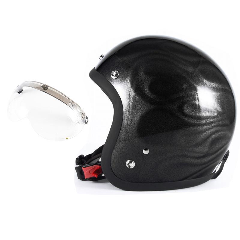 72JAM デザイナーズジェットヘルメット [JG-23] 開閉シールド付き [APS-01]GHOST FLAME ゴーストフレイム ブラック [ブラックグロス仕上げ]FREEサイズ(57-60cm未満) メンズ レディース 兼用品 SG規格 全排気量対応