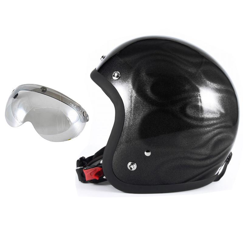 72JAM デザイナーズジェットヘルメット [JG-23] 開閉シールド付き [APS-04]GHOST FLAME ゴーストフレイム ブラック [ブラックグロス仕上げ]FREEサイズ(57-60cm未満) メンズ レディース 兼用品 SG規格 全排気量対応