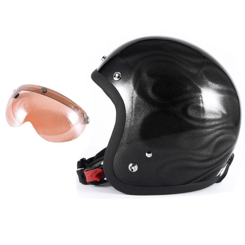 72JAM デザイナーズジェットヘルメット [JG-23] 開閉シールド付き [APS-05]GHOST FLAME ゴーストフレイム ブラック [ブラックグロス仕上げ]FREEサイズ(57-60cm未満) メンズ レディース 兼用品 SG規格 全排気量対応