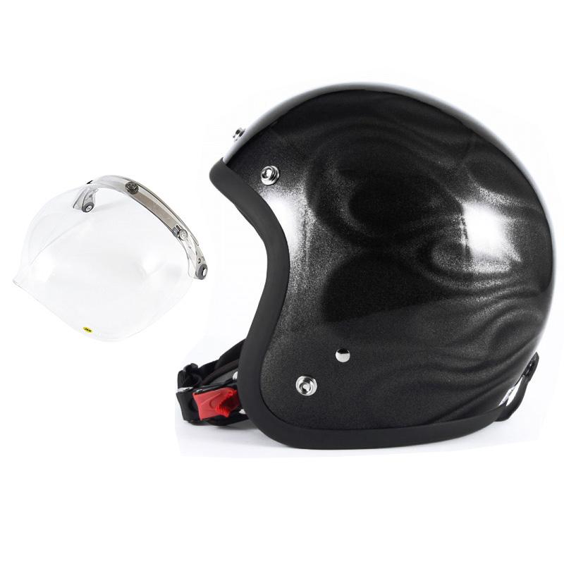 72JAM デザイナーズジェットヘルメット [JG-23] 開閉シールド付き [JCBN-01]GHOST FLAME ゴーストフレイム ブラック [ブラックグロス仕上げ]FREEサイズ(57-60cm未満) メンズ レディース 兼用品 SG規格 全排気量対応