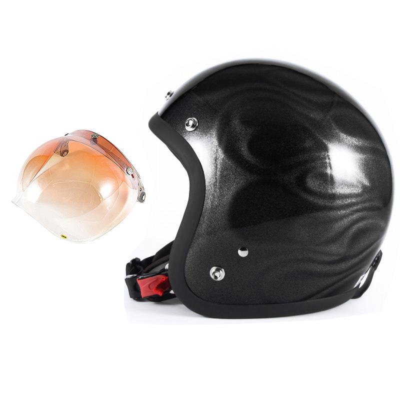 72JAM デザイナーズジェットヘルメット [JG-23] 開閉シールド付き [JCBN-04]GHOST FLAME ゴーストフレイム ブラック [ブラックグロス仕上げ]FREEサイズ(57-60cm未満) メンズ レディース 兼用品 SG規格 全排気量対応