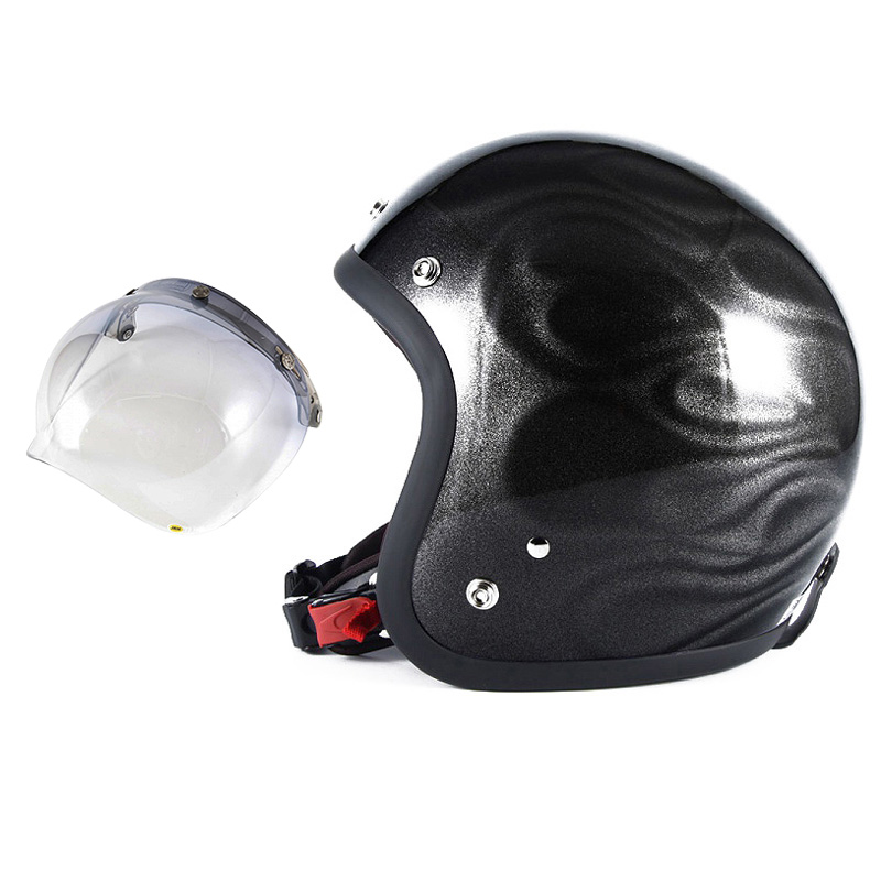 72JAM デザイナーズジェットヘルメット [JG-23] 開閉シールド付き [JCBN-05]GHOST FLAME ゴーストフレイム ブラック [ブラックグロス仕上げ]FREEサイズ(57-60cm未満) メンズ レディース 兼用品 SG規格 全排気量対応