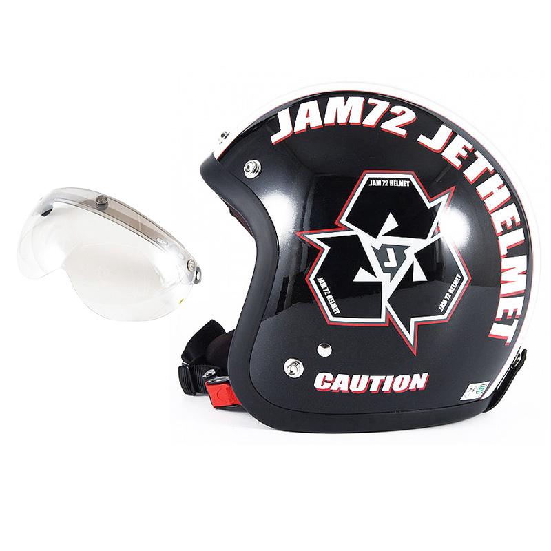 72JAM デザイナーズジェットヘルメット [JJ-03] 開閉シールド付き [APS-02]SPIKE スパイク ブラック [ガラスフレークブラックベースグロス仕上げ]FREEサイズ(57-60cm未満) メンズ レディース 兼用品 SG規格 全排気量対応
