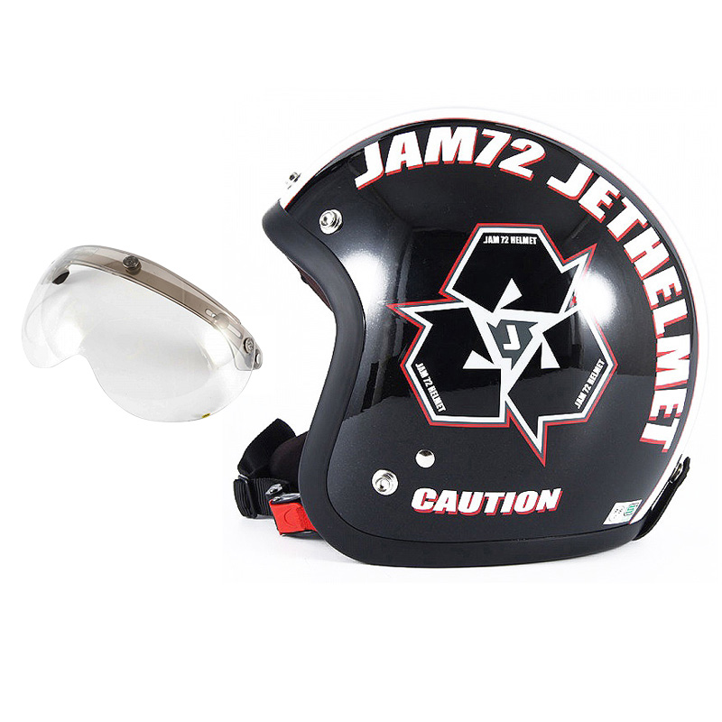 72JAM デザイナーズジェットヘルメット [JJ-03] 開閉シールド付き [APS-03]SPIKE スパイク ブラック [ガラスフレークブラックベースグロス仕上げ]FREEサイズ(57-60cm未満) メンズ レディース 兼用品 SG規格 全排気量対応