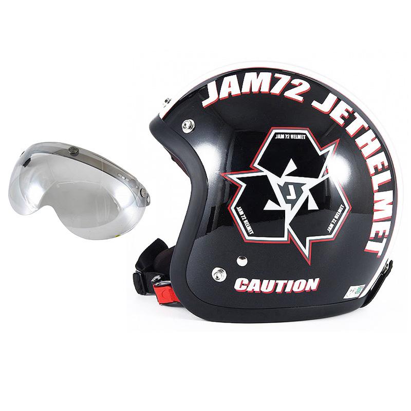 72JAM デザイナーズジェットヘルメット [JJ-03] 開閉シールド付き [APS-04]SPIKE スパイク ブラック [ガラスフレークブラックベースグロス仕上げ]FREEサイズ(57-60cm未満) メンズ レディース 兼用品 SG規格 全排気量対応