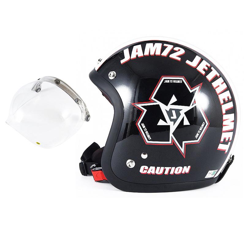 72JAM デザイナーズジェットヘルメット [JJ-03] 開閉シールド付き [JCBN-01]SPIKE スパイク ブラック [ガラスフレークブラックベースグロス仕上げ]FREEサイズ(57-60cm未満) メンズ レディース 兼用品 SG規格 全排気量対応