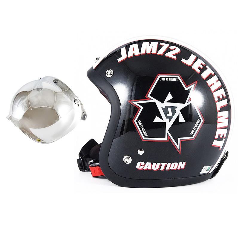 72JAM デザイナーズジェットヘルメット [JJ-03] 開閉シールド付き [JCBN-02]SPIKE スパイク ブラック [ガラスフレークブラックベースグロス仕上げ]FREEサイズ(57-60cm未満) メンズ レディース 兼用品 SG規格 全排気量対応