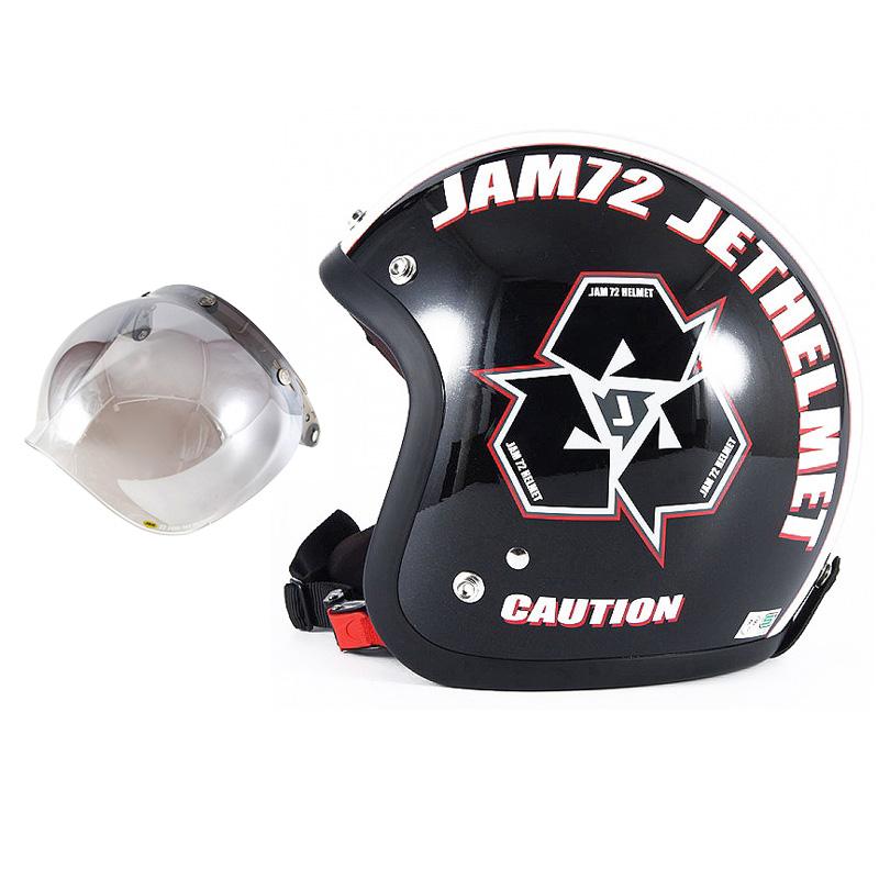 72JAM デザイナーズジェットヘルメット [JJ-03] 開閉シールド付き [JCBN-03]SPIKE スパイク ブラック [ガラスフレークブラックベースグロス仕上げ]FREEサイズ(57-60cm未満) メンズ レディース 兼用品 SG規格 全排気量対応