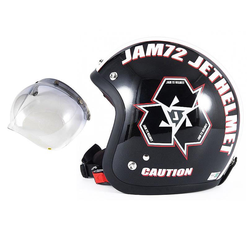 72JAM デザイナーズジェットヘルメット [JJ-03] 開閉シールド付き [JCBN-05]SPIKE スパイク ブラック [ガラスフレークブラックベースグロス仕上げ]FREEサイズ(57-60cm未満) メンズ レディース 兼用品 SG規格 全排気量対応