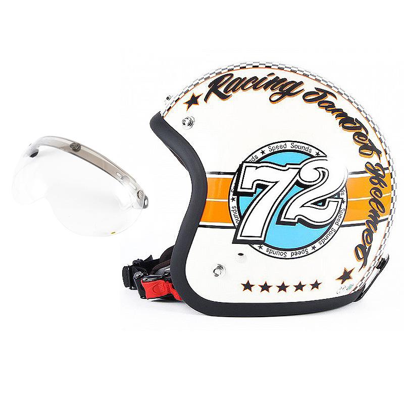 72JAM デザイナーズジェットヘルメット [JJ-04] 開閉シールド付き [APS-01]SPEED SOUND スピードサウンド アイボリー [アイボリーベースグロス仕上げ]FREEサイズ(57-60cm未満) メンズ レディース 兼用品 SG規格 全排気量対応